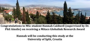 Congratulations to Hannah Caldwell on being awarded Mitacs Globalink Research funding!